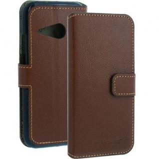 LEDER Wallet Case für HTC ONE MINI 2 braun Handy - Smartphone - Ledertasche NEU