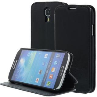 LEDER Handytasche für Samsung Galaxy S4/i9500 Schwarz, Bookstyle, Case, Ledertasche