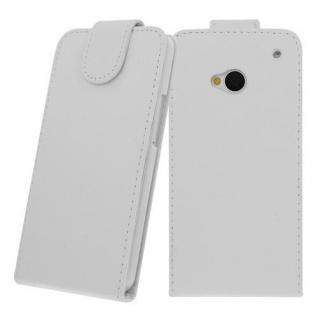 Für HTC One M7 WEIß - Kunstleder Tasche, Handytasche, Case, Hülle, Cover, Tasche