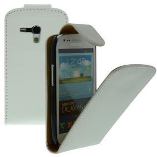 Für Samsung Galaxy S3 Mini / i8190 WEIß - Kunstleder Tasche, Handytasche, Case, Hül