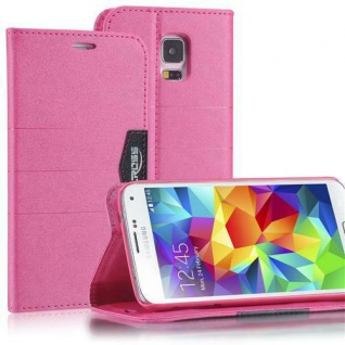 Bookstyle Case für Samsung Galaxy S4 mini i9190 Anthrazit Pink Cover Etui Schutz