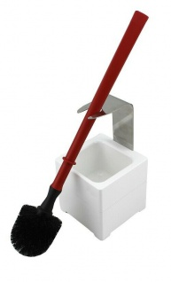 Mr. Sanitär Spezial 3 tlg. WC-Garnitur Rot, Wand- /Bodenhalter, 2x Borstenkopf
