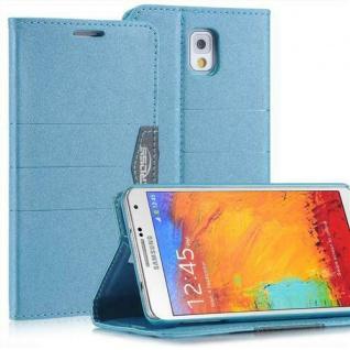 Bookstyle Case für Samsung Galaxy Note 3 Anthrazit Blau mit Magnetverschluß Etui