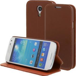 LEDER Handytasche für Samsung Galaxy S4 Mini/i9190 Braun, Bookstyle, Case, Cover