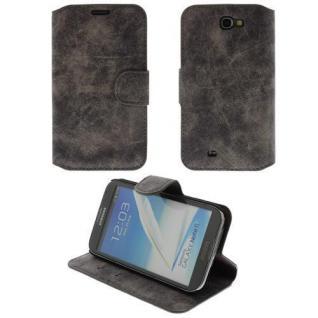 Smartphone Wildledertasche für Samsung Note2 N7100 Kaffe Braun Case Etui Handy