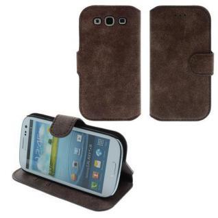 Für Samsung i9300 S3 TableTalk Case/Cover/Bumper/Hülle/Schale Dunkel Braun LEDER