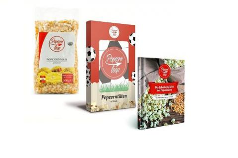 POPCORNLOOP Zubehör-Set: 6 x Fußball Popcorntüten + Mais (500g) + Rezeptbuch!