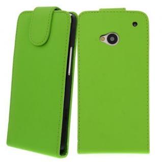 Für HTC One M7 GRÜN - Kunstleder Tasche, Handytasche, Case, Hülle, Cover, Tasche