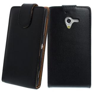 Für Sony Xperia Z1 -L39H SCHWARZ Handytasche Case Cover Etui Hülle + Schutzfolie