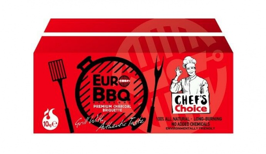 EUROBBQ Premium Qualität Holzkohlebriketts Rot-Edition 10 kg - Sehr raucharm