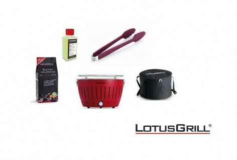 LotusGrill Starter-Set Feuerrot je 1x Kohle 1kg, Brennpaste 200ml, Zange NEU
