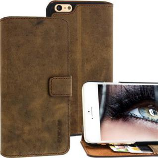 Für Apple iPhone 6 PLUS Handy ECHT LEDER Tasche Case Etui - Antik Kaffeebraun