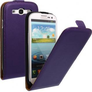Kunstleder Tasche für Samsung Galaxy S4 Mini Lila - Handytasche mit Schutzfolie