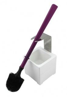 Mr. Sanitär Spezial 3 tlg. WC-Garnitur Lila, Wand- /Bodenhalter, 2x Borstenkopf