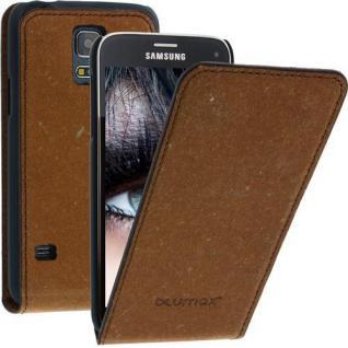 Blumax Flip Thin Ledertasche für Samsung Galaxy S5 Mini Braun Handytasche Etui