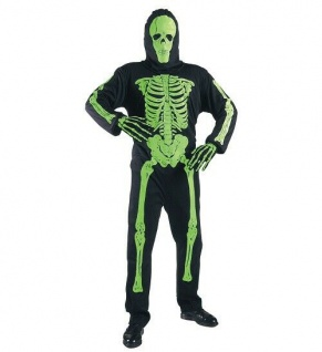 MKS Halloween Halloweenverkleidung Fasching Partykostüm Neon Skelett Grün 158 cm