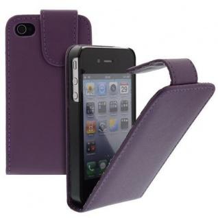 Für Apple iPhone 4/4S Handy Flip Case Tasche Hülle Schutz Lila Tasche