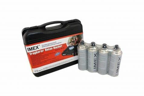 IMEX Camping Gaskocher Set Butan-Kocher Klein Tragekoffer mit 4 Gaskartuschen
