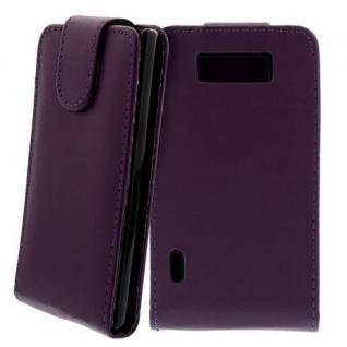 Für LG P700 Optimus L7 Handy Flip Case Tasche Hülle Schutz Lila NEU