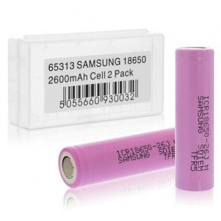 2er Set Batterien Samsung Cell 18650 mit 2600mAh, 3, 7V Li-Ion, Aufbewahrungsbox