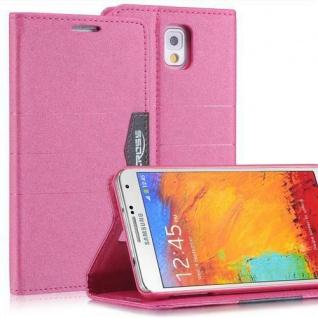 Bookstyle Case für Samsung Galaxy Note 3 Anthrazit Pink mit Magnetverschluß Etui