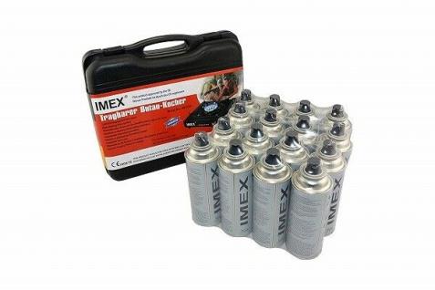 IMEX Camping Gaskocher Set Butan-Kocher Klein Tragekoffer mit 16 Gaskartuschen