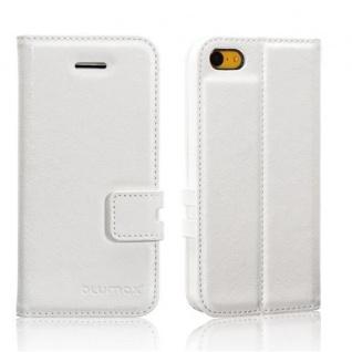 PU Ledertasche für Apple iPhone 5c Weiß - Handy Etui Case Cover Hülle Bookstyle
