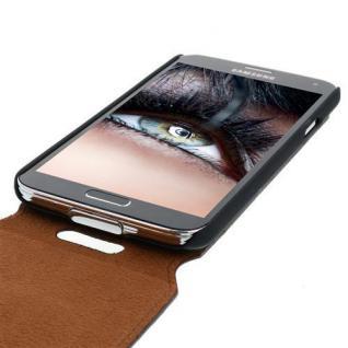 Blumax Flip Thin Ledertasche für Samsung Galaxy S5 Filo Braun Handytasche Case