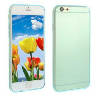 Silikon Case für Apple iPhone 6 - Transparent Blau -Cover Bumper Tasche Etui NEU