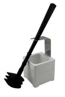 Mr. Sanitär Spezial 3 tlg. Toilettenbürste WC-Garnitur Schwarz Wand-/Bodenhalter