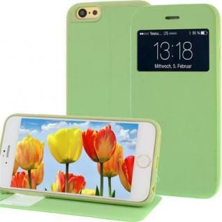 Handytasche für Apple iPhone 6 mit Fenster + Displayklappe Grün, Slim Etui Cover