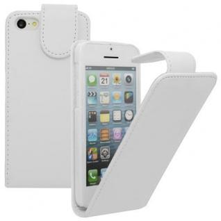 Für Apple iPhone 5C WEIß - Kunstleder Tasche, Handytasche, Case, Hülle, Schutz,