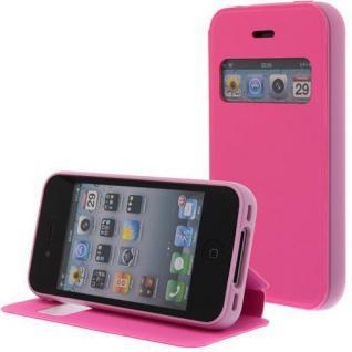 Kunstleder Handytasche für Apple iPhone 4S / 4G Pink mit Fenster, Displayklappe, D