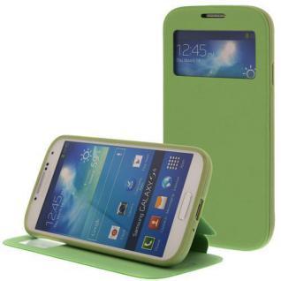 Kunstleder Handytasche für Samsung S4 / i9500 Grün mit Fenster, Displayklappe, D