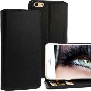 Exxcase Ledertasche für Apple iPhone 6 PLUS Schwarz Handytasche Smartphonetasche