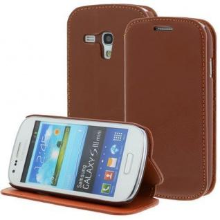LEDER Handytasche für Samsung Galaxy S3 Mini/i8190 Braun, Bookstyle, Case, Cover