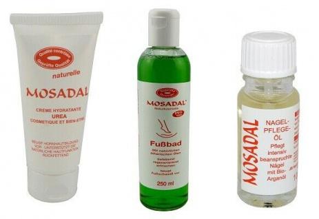 MOSADAL Creme Hydratante Urea 100ml mit Fußbad 250ml und Nagelpflegeöl 10ml