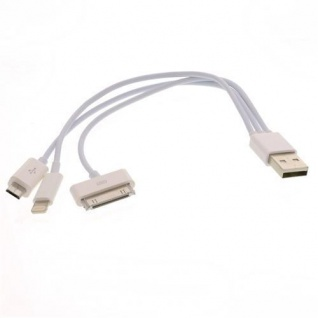 USB Ladekabel 3 in 1 iPhone 4/4S/5/Micro Set Weiss