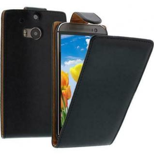 Flip Case Handytasche für HTC M8 in Schwarz - Smartphonetasche Case Cover Tasche