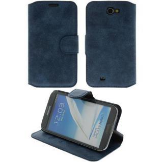 Wildleder Handytasche für Samsung N7100 Note2 Antic Blau Case Etui Handy LEDER