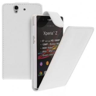 Für Sony Xperia Z Handy Flip Case Tasche Hülle Schutz Weiss