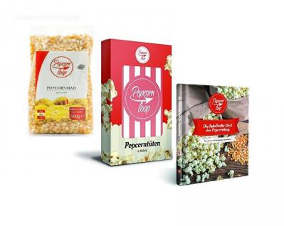 POPCORNLOOP Zubehör-Set: 6 x Original Popcorntüten + Mais (500g) + Rezeptbuch!