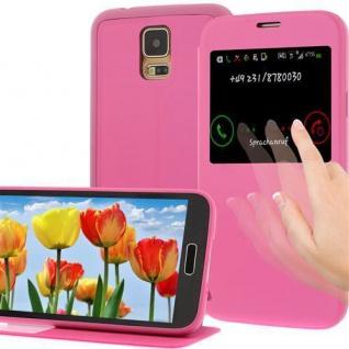 Handytasche für Samsung Galaxy S5 Pink mit Fenster - Etui Case Smartphonetasche