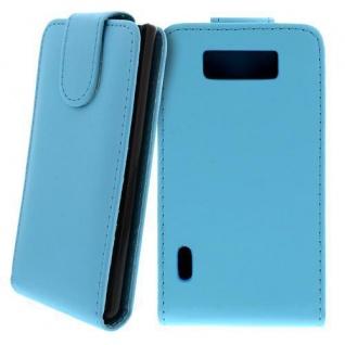 Für LG P700 Optimus L7 Handy Flip Case Tasche Hülle Schutz Türkis NEU
