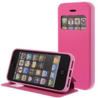 Kunstleder Handytasche für Apple iPhone 5C Pink mit Fenster, Display Klappe, Dün