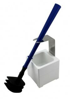 Mr. Sanitär Spezial 3 tlg. Toilettenbürste WC-Garnitur Blau + Wand- /Bodenhalter