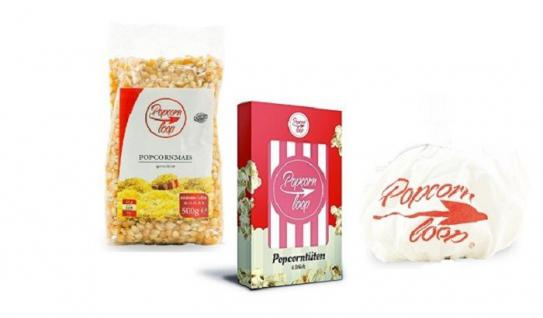 POPCORNLOOP Zubehör-Set: 6 x Original Popcorntüten + Mais 500g + Originalhaube!