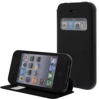 Kunstleder Handytasche für Apple iPhone 4S/4G Schwarz - Display Klappe, Fenster, D - Vorschau