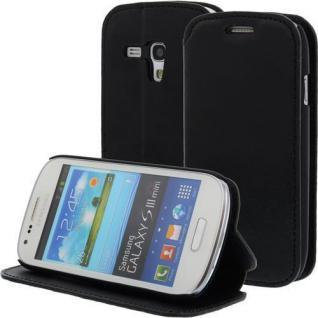 LEDER Handytasche für Samsung Galaxy S3 Mini/i8190 Schwarz, Bookstyle, Case, Cover