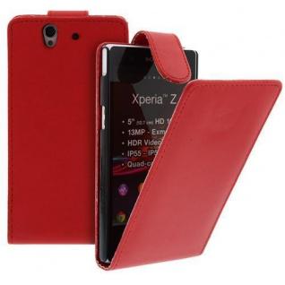 Für Sony Xperia Z Handy Flip Case Tasche Hülle Schutz Rot